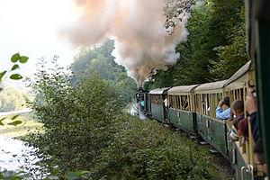 Mocăniță - Narrow-gauge mixed train in Vișeu de Sus, September 2014