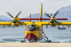 Amphibious aircraft - A Canadair CL-215T seaplane with retractable wheels