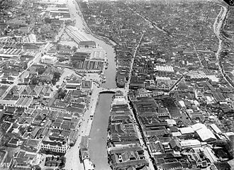 Surabaya - Red Bridge area from the air in the 1920s.