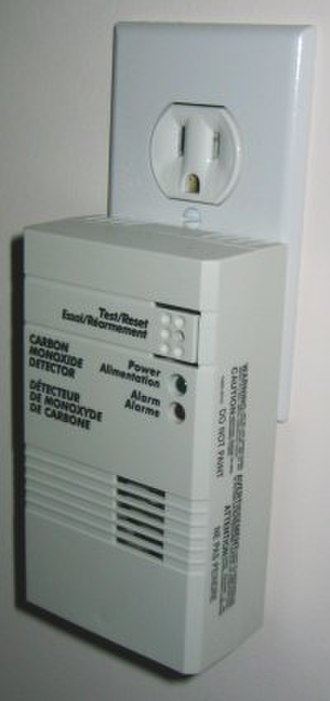 Carbon monoxide detector - Carbon Monoxide detector connected to a North American power outlet