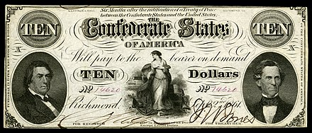 1862 $10 CSA note depicting a vignette of Hope flanked by R.M.T. Hunter (left) and C.G. Memminger (right). CSA-T25-$10-1862.jpg
