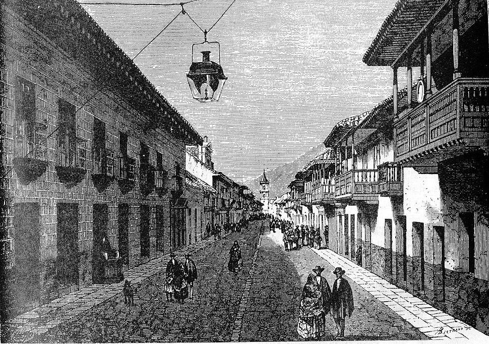 Calle real de Bogotá en 1869 dibujo de Therond