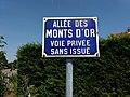 Caluire-et-Cuire - Allée des Monts d'Or, plaque.jpg