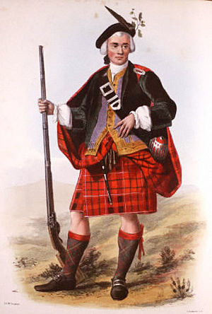 Clan Cameron - A Victorian era, romanticised depiction of a member of the clan by R. R. McIan, from The Clans of the Scottish Highlands, published in 1845.