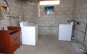 Camp Iguana laundry room.