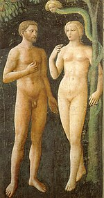 A fresco showing Adam and Eve tempted by the Devil. Eve holds a piece of fruit while Adam gestures towards  it, the figures look slim, youthful and beautiful. Adam is bearded and tanned; Eve is blonde and pretty.