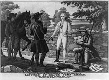 A black-and-white illustration of a man in white, with one boot off, on a stone bridge, surrounded by three darker men with hats, coats and long guns