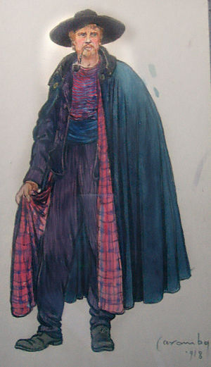 Il tabarro - The original 1918 costume sketch design for Michele