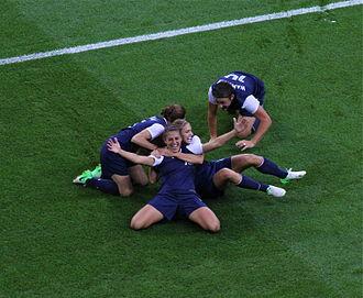 Carli Lloyd - Carli Lloyd celebrates at the 2012 Summer Olympics after scoring a goal