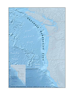 Cascadia subduction zone Convergent plate boundary that stretches from northern Vancouver Island to Northern California