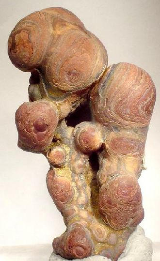 "Cassiterite - Stalactitic-botryoidal, banded, ""wood tin"" cassiterite, 5.0 x 4.9 x 3.3 cm, Durango, Mexico"