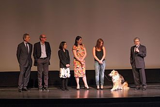 Darling Companion - Kevin Kline, Richard Jenkins, Meg Kasdan, Elizabeth Redleaf, Casey (aka Freeway) and Lawrence Kasdan at the 2012 Miami International Film Festival premiere of the film