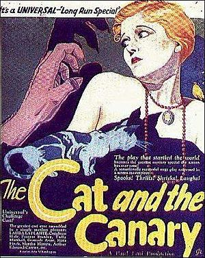 """The Cat and the Canary (1927 film) - A theatrical poster emphasizing aspects of the film, particularly the """"cat and the canary"""" and the mysterious, sinister hand."""
