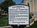 Cathedral of the Immaculate Conception (Fort Wayne, Indiana) - exterior, historical sign.JPG