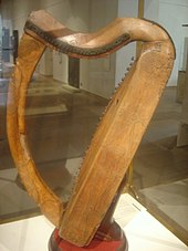 The medieval 'Queen Mary harp' Clàrsach na Banrìgh Màiri preserved in the National Museum of Scotland, Edinburgh.
