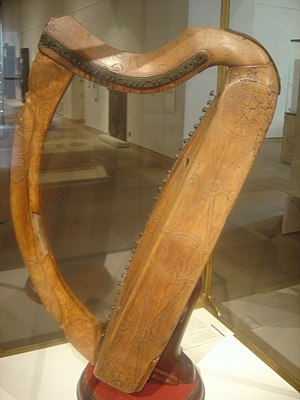 Music in Medieval Scotland - The Queen Mary Harp, preserved in the National Museum of Scotland, Edinburgh