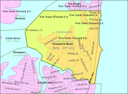 Census Bureau map of Monmouth Beach, New Jersey