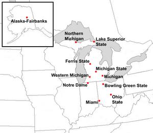 Central Collegiate Hockey Association - Locations of final Central Collegiate Hockey Association members.