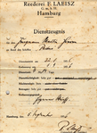 Certificate for service Sailor Martin Heeren, of the 4-masted barque Padua, Captain R. Clauss, from 1936.png