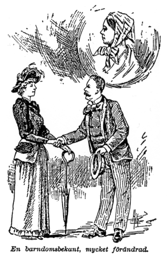 """H. Arnold Barton - """"A childhood acquaintance, greatly changed."""" Drawing from 1892, illustrating the transformation in North America of a young immigrant woman from Sweden, from Gustaf Sjöström's Jan Olsons Äfventyr, 1892. Reproduced in H. Arnold Barton, A Folk Divided: Homeland Swedes and Swedish Americans 1840-1940"""