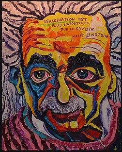 Albert Einstein, œuvre de Charles Szymkowicz, installée dans l'atrium de l'hôpital civil Marie Curie (2015, Charleroi). (définition réelle 1658×2062)