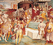 Charles V announcing the capture of Tunis to the Pope in 1535