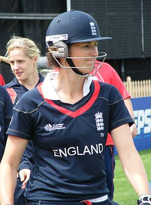 English: Charlotte Edwards waiting to bat duri...