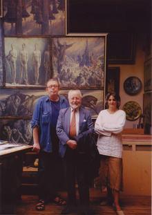 De gauche à droite: Sergei Chepik, Vladimir Volkoff, Florence de Baudus