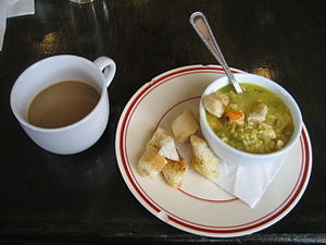 Saffron chicken soup and cup of coffee, at &qu...