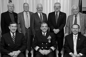 Chief of Naval Research - Several former Chiefs of Naval Research photographed in 2005. Back: L. S. Kollmorgen, Brad Mooney, Dick Van Orden, Albert Baciocco, R. K. Geiger. Front: Paul Gaffney, Jay Cohen, William Miller.