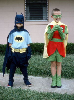 Halloween costume - Children dressed as Batman and Robin, 1966
