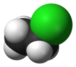 Ball-and-stick model of chloroethane