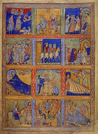 Eadwine Psalter - The Nativity of Jesus on the recto of the British Library page