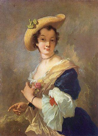 Christian Wilhelm Ernst Dietrich - Christian Wilhelm Ernst Dietrich, Portrait of a Woman with a Straw Hat