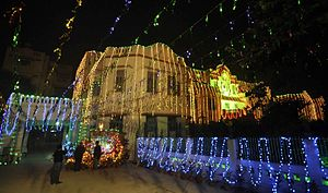 Gandhi Maidan Marg - Fully decorated with coloured electric bulbs, St Xavier's School celebrated Christmas in Patna on 24 December 2012.