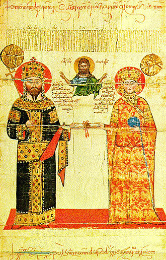 Double-headed eagle - Double-headed eagles on imperial vestments of Empress Theodora Kantakouzene, from the Golden Bull of Alexios III of Trebizond, mid-14th century.