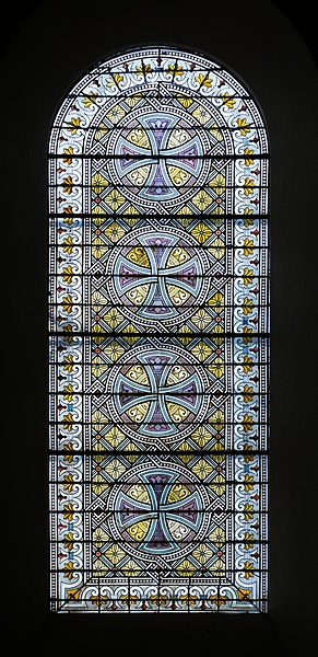 Stained-glass window of the church of the Sacred Heart of Rodez, Aveyron, France