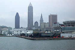 View of downtown Cleveland from Lake Erie.