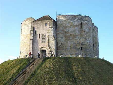 Clifford's Tower, part of York Castle Clifford's Tower, from south.JPG
