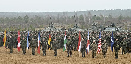 Lithuanian Army soldiers with their NATO allies during Iron Sword 2014 Closing ceremony for Iron Sword 2014.jpg