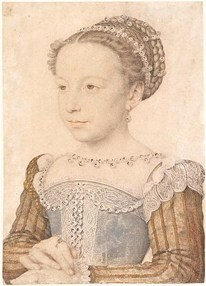 Margaret of Valois - Princess Margaret of Valois. Portrait by Francois Clouet, 16th century.