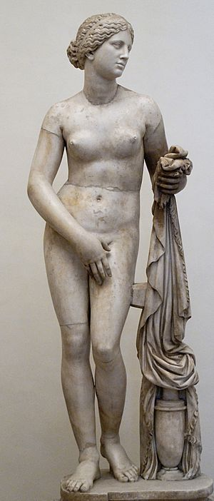Aphrodite of Knidos - The Ludovisi Cnidian Aphrodite, Roman marble copy (torso and thighs) with restored head, arms, legs and drapery support