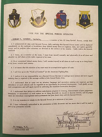 "Delta Force - Example of the ""Code of the Special Forces Operator"" dated 1959. This example pre-dates DELTA among other units."