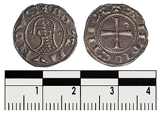 Principality of Antioch - A rather unusual coin in the name of Bohemond. A bust sits in profile wearing a round helmet emblazoned with a cross with a prominent nasal-guard and a mail coif covering the neck. (1163-1201)