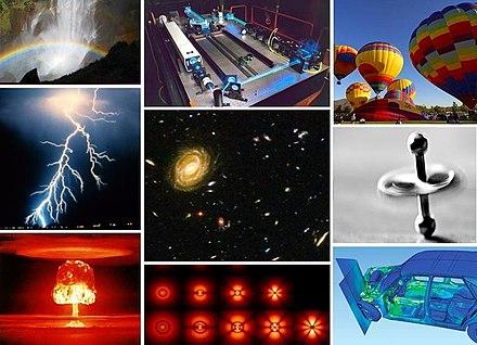 I fenomeni naturali costituiscono l'oggetto di studio della fisica. Dall'alto a sinistra in senso orario: 1) La rifrazione della luce attraverso le gocce d'acqua produce un arcobaleno, un fenomeno studiato dall'ottica, 2) Un'applicazione: il laser, 3) Delle mongolfiere che sfruttano la forza di Archimede per volare, 4) Una trottola, un sistema studiabile in meccanica classica, 5) L'effetto di un urto anelastico, 6) Orbitali dell'atomo di idrogeno, spiegabili con la meccanica quantistica, 7) L'esplosione di una bomba atomica, 8) Un fulmine, un fenomeno elettrico, 9) Galassie fotografate con il Telescopio spaziale Hubble.