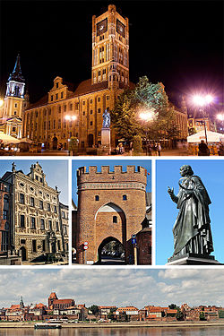 Top: Town hall on Stary RynekMiddle: Dąmbski family Palace, Bridge Gate, Nicolaus Copernicus MonumentBottom: Toruń's medieval Old Town panorama