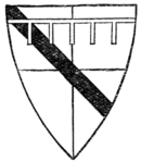 Fig. 690.—Arms of John de Lacy, Earl of Lincoln (d. 1240): Quarterly, or and gules, a bend sable, and a label argent. (MS. Cott. Nero, D. 1.)