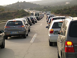 Jam Congestion caused by a road accident, Algarve, Portugal.jpg