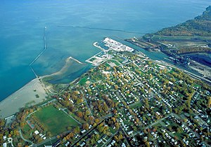 Conneaut, Ohio - Aerial view of the port at Conneaut