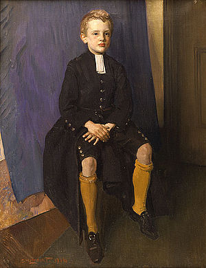 Constant Lambert - Lambert aged about eleven in the uniform of Christ's Hospital, painting by his father George Lambert